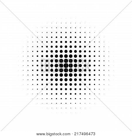 Black halftone effect on a white background. Halftone dots pattern. Radial gradient. Vector illustration