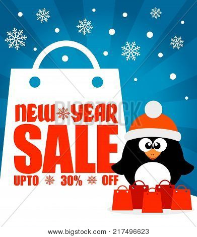 New Year sale background with penguin upto 30% off.Vector illustration