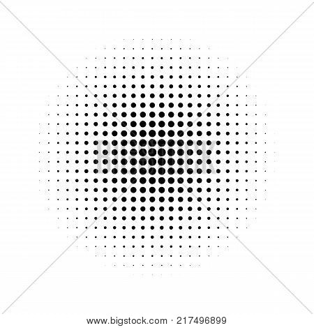 Halftone effect isolated on white background. Halftone dots pattern. Radial gradient. Vector illustration