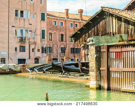 Squero di San Trovaso - gondolas workshop. Typical Venetian yard where are created and repair the boats like gondolas and other typical boats of the Venetian lagoon