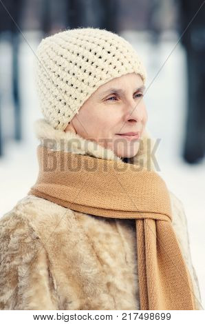 Woman Ready A Book In Winter
