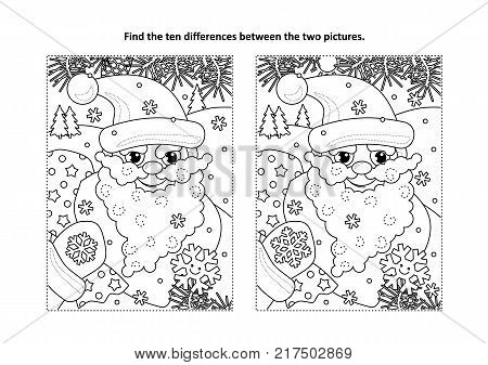Winter holidays, New Year or Christmas themed find the ten differences picture puzzle and coloring page with Santa delivering presents in his sack full of toys and gifts