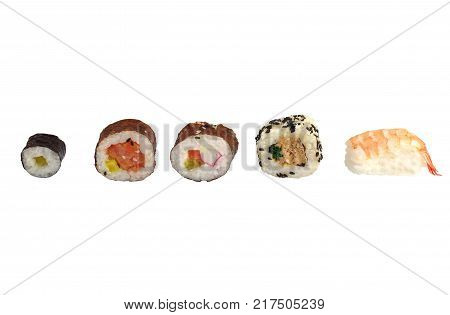portion sushi and wooden hopsticks on plate