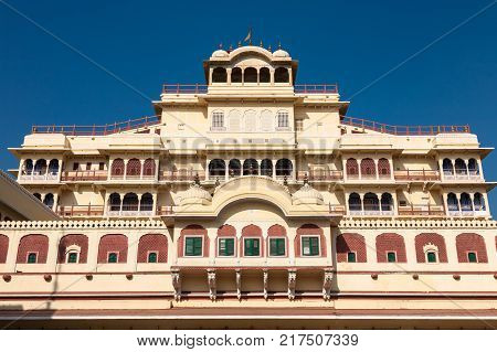 Jaipur India - 2014 December 29 : The Chandra Mahal building which is the royal residence of the Jaipur Maharaja inside the City Palace complex in Rajasthan India