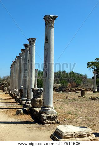 Ruins and ancient columns in the ancient city of Salamis in Famagusta.Northern Cyprus.