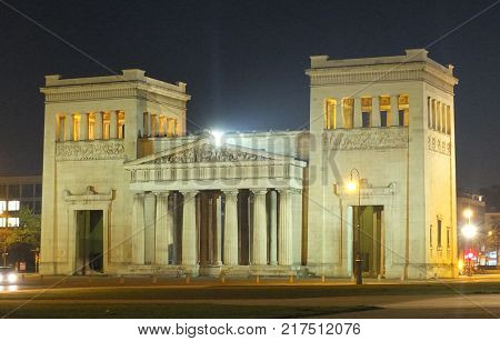 Doric propylaen monument at night. Munich Germany