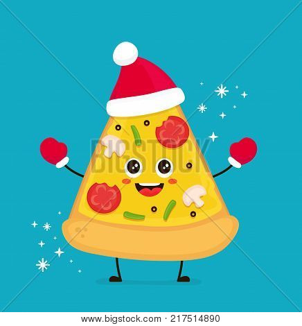 Cute smiling funny cute pizza slice christmas hat.Vector modern flat style cartoon character illustration.Isolated on white background.Pizza slice christmas card concept