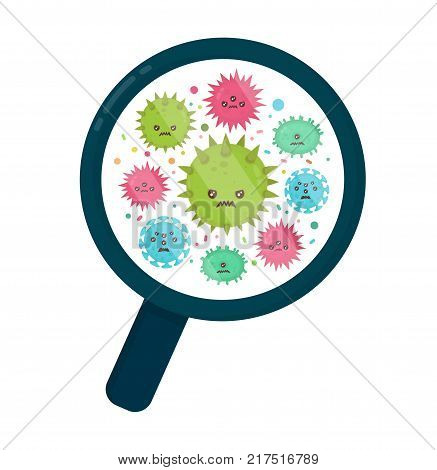 Cute angry evil bad fly germ virus infection,micro bacteria under a magnifying glass.Vector modern flat style cartoon character illustration.Isolated on white background.Microbe, Pathogen, Virus icon