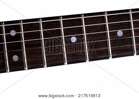 Part of the classic electric guitar fretboard. Isolated on white background.
