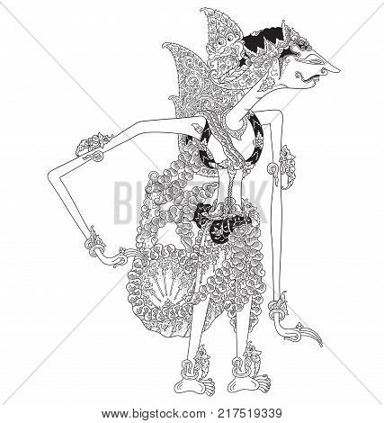 Kalimantara, a character of traditional puppet show, wayang kulit from java indonesia.