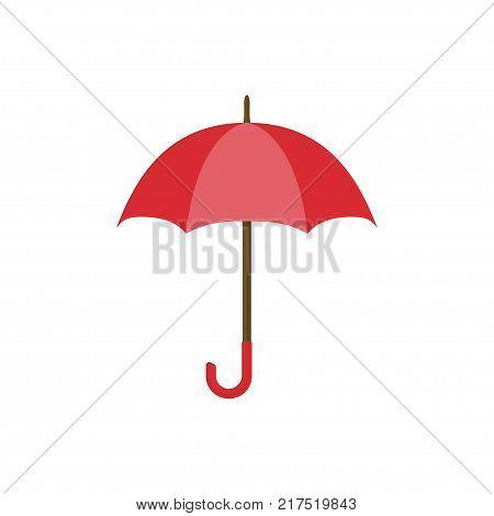 Red umbrella icon. Yellow umbrella isolated on white background. Umbrella in cartoon style