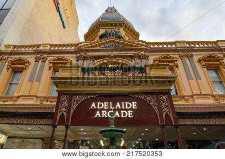Adelaide Australia - November 10 2017: Adelaide Arcade historic building exterior facade