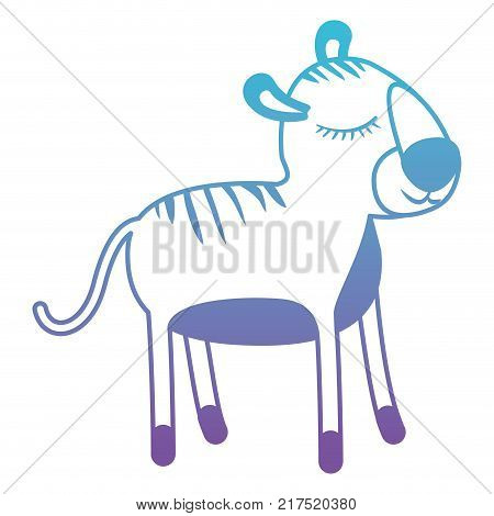 female tiger cartoon with closed eyes expression in degraded blue to purple color silhouette vector illustration