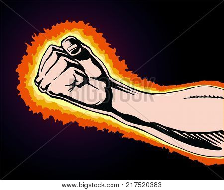 Fist of Power is an image of a fist clinched in rage or anger as if preparing to strike at any moment. Fist is surrounded by flames or fire as the anger and power builds within it.