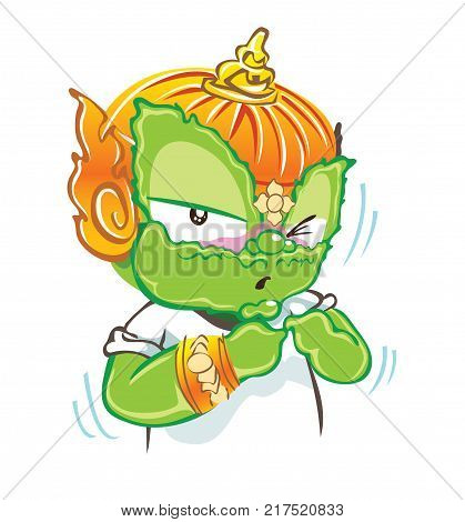 Guilty acting cute character design Thai cartoon vector background isolate white color has clipping paths.