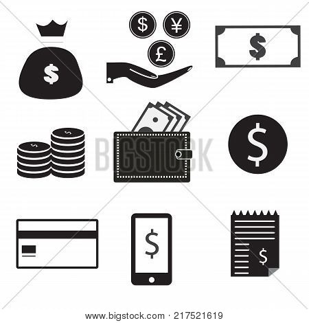 9 vector icon set. dollar bag money on hand money coin stack wallet dollar credit card mobile pay receipt. set money on white background.