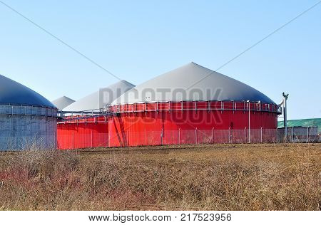 Red tanks for bio fuel production in Germany.