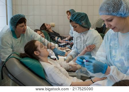 The Doctor Sorts Blood And Donor Sera