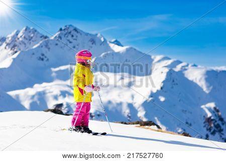 Ski And Snow Fun. Kids Skiing. Child Winter Sport.