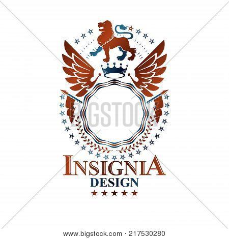 Graphic retro emblem created with Brave Lion King hatchets and pentagonal stars. Heraldic Coat of Arms decorative logo isolated vector illustration.