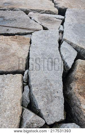 Granite Boulders Making Up a Breakwater along Atlantic coast