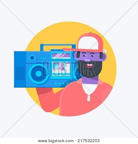 Rapper musician in a baseball cap with boombox. Fashionable hip hop man. Flat vector character illustration