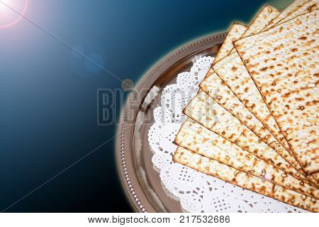 spring jewish holiday of Passover and its attributes, unleavened bread - matzo
