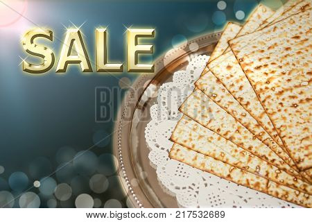 spring jewish holiday of Passover and its attributes, unleavened bread - matzo, with an inscription - sale