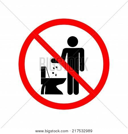 Do not litter in toilet sign symbol in red circle. Silhouette man on white background. Flat vector image. Vector illustration.