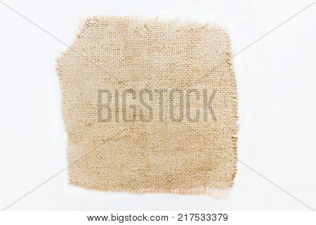 Hessian Textured Cloth Square Shape Fabric Isolated on White Background. Sack Sacking Country Light Brown Texture, Natural Linen Pattern. Clothing Fashion Simple Burlap Fabric Design Material Cut-Out.
