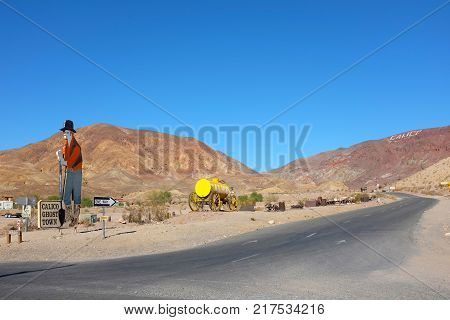 YERMO CALIFORNIA - DECEMBER 8 2017: Calico Ghost Town. Located in the Calico Mountains of the Mojave Desert founded as a silver mining town today it is a county park named Calico Ghost Town.