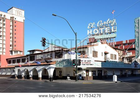 LAS VEGAS - DECEMBER 7 2017: El Cortez Hotel and Casino. It is one of the oldest casino hotel properties in Las Vegas in continuous operation at the same Fremont Street location since 1941.