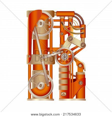 The letter R of the Latin alphabet, made in the form of a mechanism with moving and stationary parts on a steam, hydraulic or pneumatic draft. Isolated freely editable object on white background.