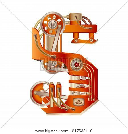The letter S of the Latin alphabet, made in the form of a mechanism with moving and stationary parts on a steam, hydraulic or pneumatic draft. Isolated freely editable object on white background.