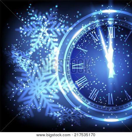 Old clock holiday lights at New year midnight. Vector illustration.