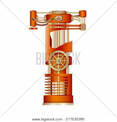 The letter T of the Latin alphabet, made in the form of a mechanism with moving and stationary parts on a steam, hydraulic or pneumatic draft. Isolated freely editable object on white background.