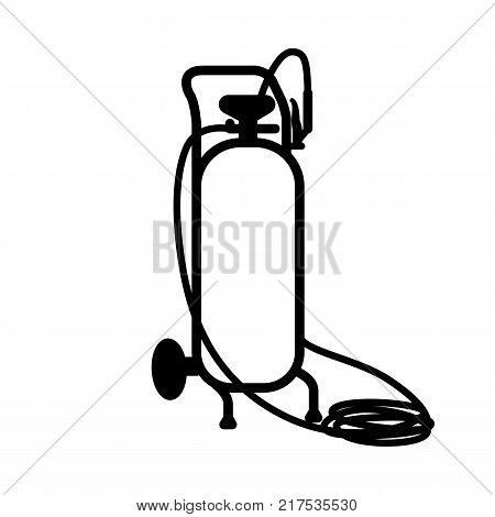 Vector black outline icon of gas cylinder isolated on white background