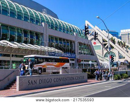 SAN DIEGO CALIFORNIA US - MARCH 13 2007: People outside the San Diego Convention Center in San Diego California US on March 13 2007. It is located at downtown San Diego near the Gaslamp Quarter.