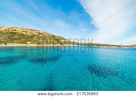 Turquoise water in Spalmatore beach in La Maddalena. Sardinia Italy