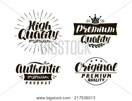 Description of goods. Typography design set icons or symbols. Lettering vector illustration isolated on white background