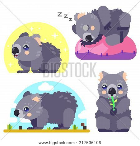 Illustrated Vector Set of Wombat Character an Australian Animal