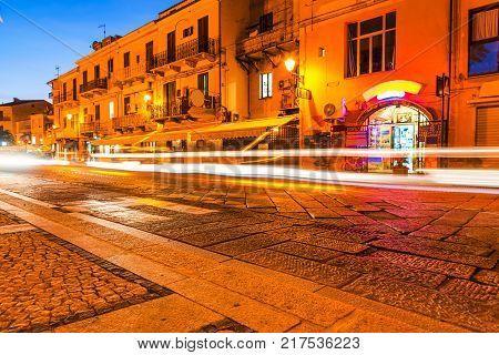 La Maddalena promenade at night. Sardinia Italy