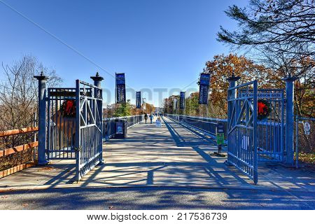 Poughkeepsie, New York - November 30, 2017: Entrance to the Walkway over the Hudson in Poughkeepsie New York.