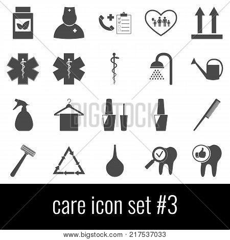 Care. Icon set 3. Gray icons on white background.