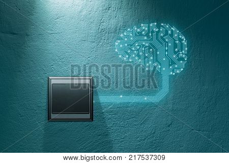 Artificial intelligence concept. Brain with printed circuit board (PCB) design representing artificial intelligence (AI) and wall switch which turn on AI.
