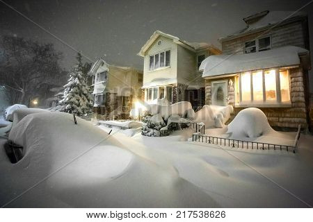 Houses Covered in Snow after heavy snow storm