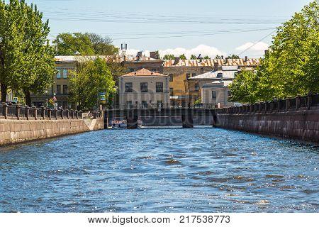 St. Petersburg, Russia - June 4 2017. Kryukov canal, Smezny bridge and psychiatric hospital number 5