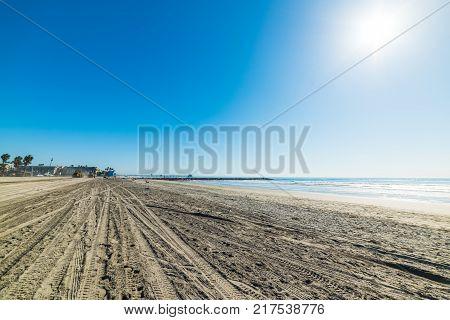 Sun shining over Oceanside shore. California USA