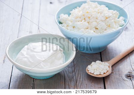 Organic Farming Cottage cheese and Sour cream in a blue bowl