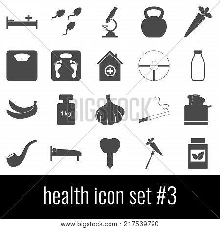 Health. Icon set 3. Gray icons on white background.